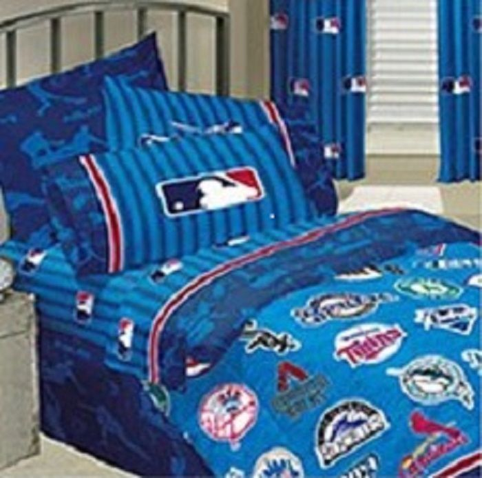 Mlb Major League Baseball Twin Sheet Set Flat And Fitted Sheets Rh Com Comforter Sets