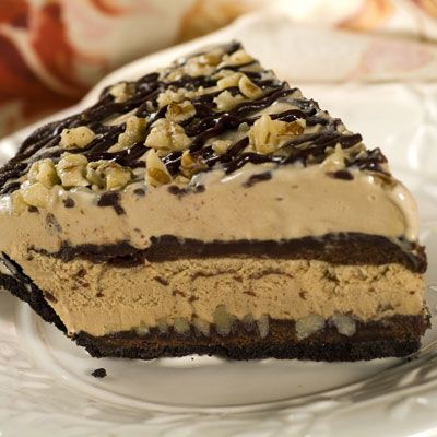 Mississippi Mud Pie is outrageously delicious! A chocolate crumb crust layered with a rich chocolate sauce, crunchy nuts and creamy coffee ice cream. This is a dessert to remember.