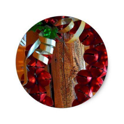 Christmas Jingle Bells Classic Round Sticker - christmas craft supplies cyo merry xmas santa claus family holidays