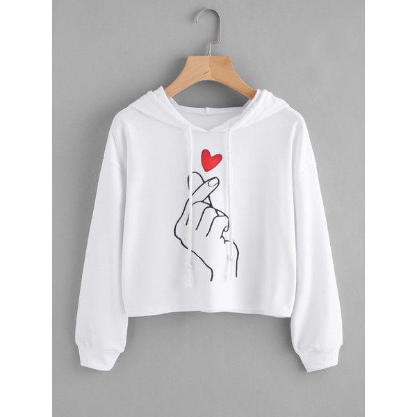 Hand Print Hoodie ❤ liked on Polyvore featuring tops, hoodies, hoodie top, patterned tops, hooded pullover, patterned hoody and hooded sweatshirt