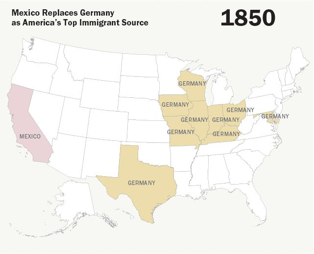 The Changing Face Of US Immigration In One GIF Social Studies - 1850 map of us