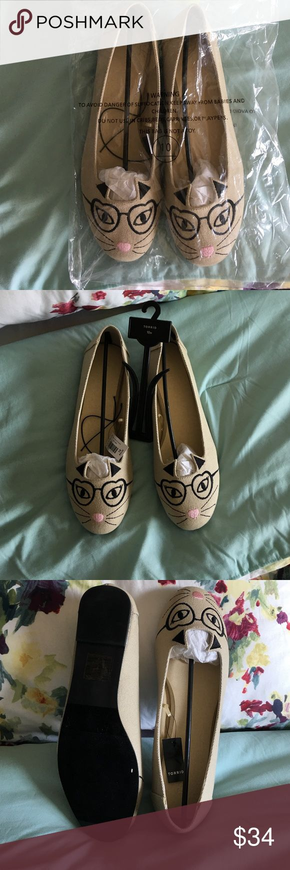Kitty Kat Flats Cute Kitty Kat Flats! Never worn! New in bag. Size 10 however they were too big for me when I tried them on. They feel like an 11. Very stylish. Share your kitty kat love with the world! torrid Shoes Flats & Loafers