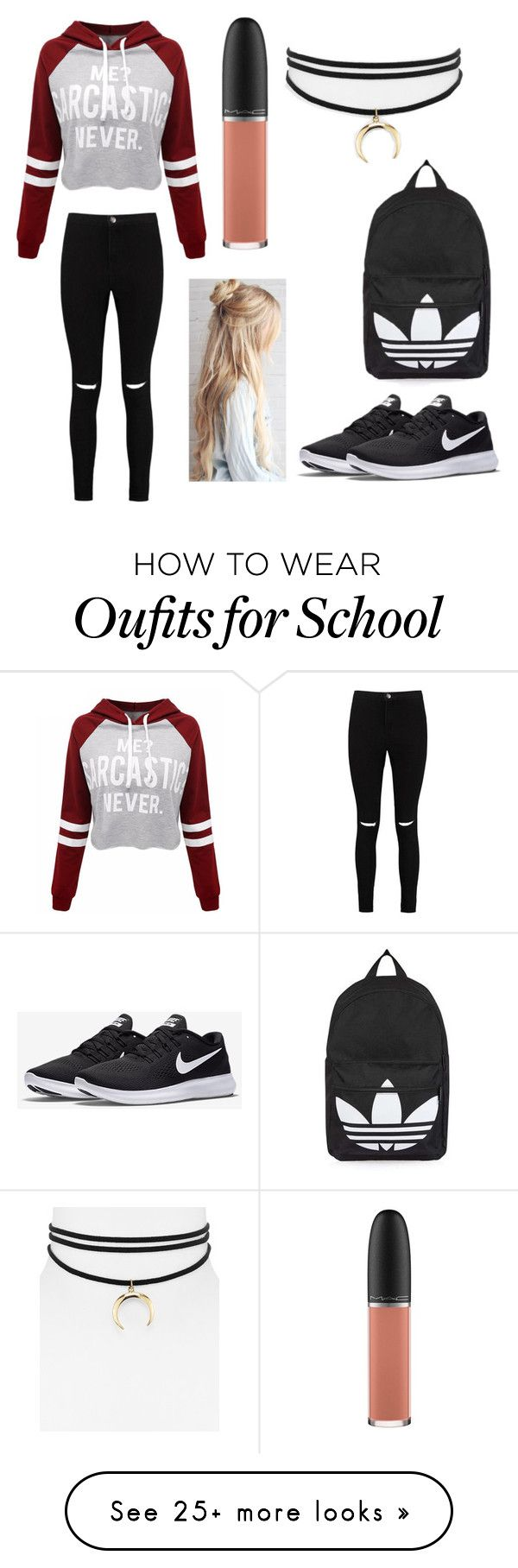 """""""High school"""" by cjmengel-2 on Polyvore featuring WithChic, Boohoo, NIKE, Topshop, MAC Cosmetics and Jules Smith"""