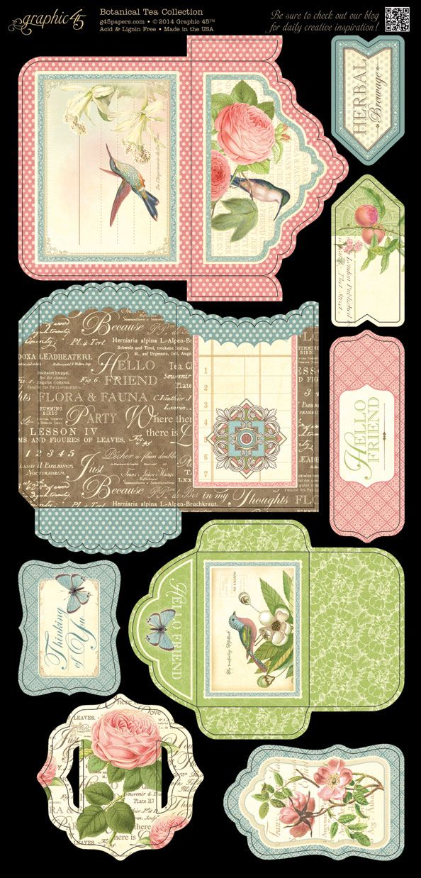 Botanical Tea - Cardstock Tags & Pockets b
