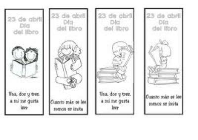 DIA DEL LIBRO ( puntos de libro para imprimir y colorear)