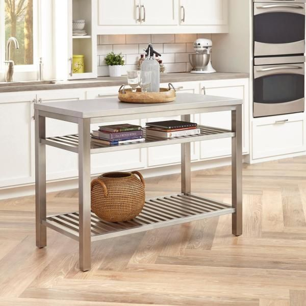 Homestyles Brushed Satin Stainless Steel Kitchen Island 5617 94 The Home Depot Stainless Steel Kitchen Island Stainless Steel Island Steel Island Kitchen