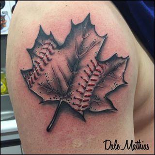 Instagram photo by prickedtattoos - Maple leaf tattoo for a baseball lover!  Done by Dale.  #prickedtattoos #tattoo #tattoos #ink #inked #getink #blackandgrey #mapleleaf #mapleleaftattoo #canada #canada #sudbury #sudburytattoo #sudburyontario