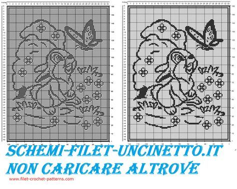 Baby blanket with Disney Thumper free filet crochet - free filet crochet patterns download