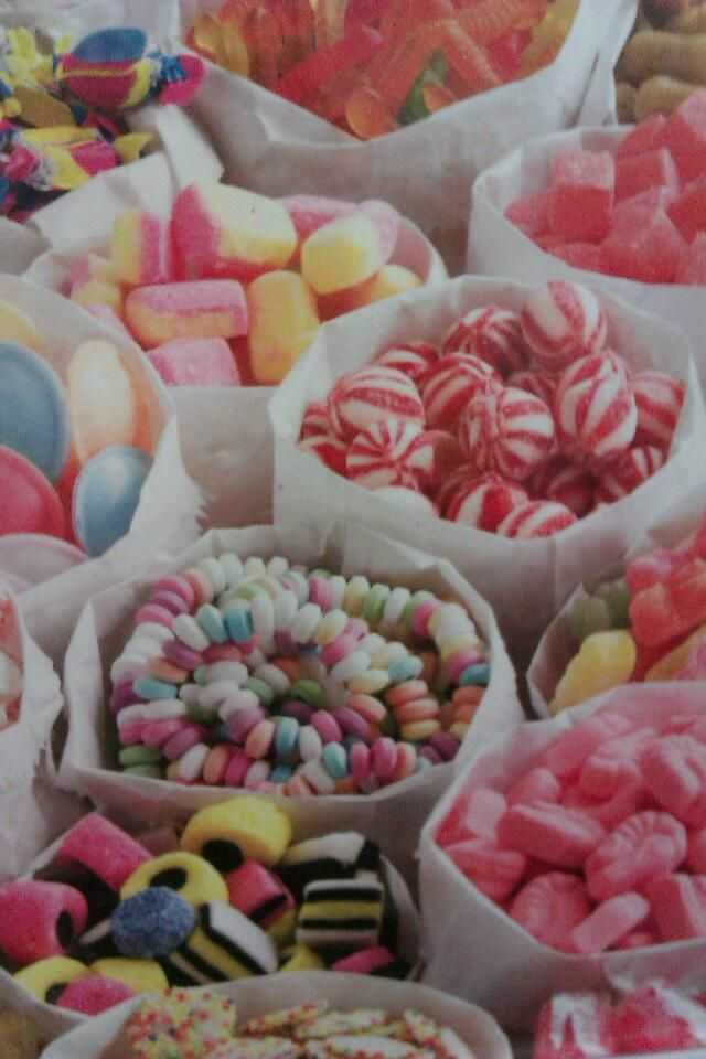 Old fashioned sweets in paper bags