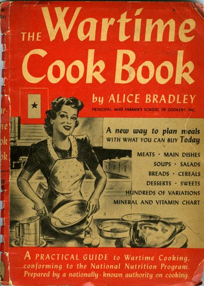 This is a cookbook that was used by women during world war II.  Due to the war time efforts there were limited and/or rationed supplies, and it was necessary to have a new book of recipes based on the ingredients and supplies that were available.