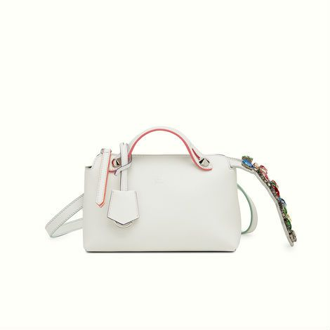 Fendi Mini By The Way bag in soft ice white with multicolored crystals.