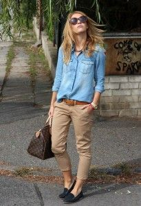 Denim shirt with brown pants & belt and flat shoes. Louise Vuitton handbag. Learn how to wear denim this fall 2015 >>> http://justbestylish.com/how-to-wear-denim-this-fall-2015/
