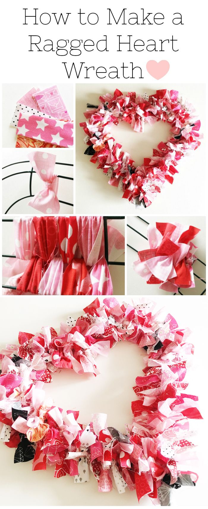 How to make a Valentine's Heart Fabric Rag Wreath- a cute Valentine's Day Craft idea. Rag Wreath Tutorial #ValentinesDayCrafts #DIYWreath #RagWreath #FabricWreathTutorial