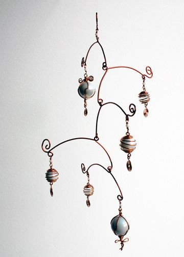 Mobile Stairs White hanging mobile  wire art by karensanders