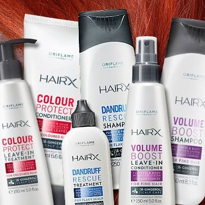 New Oriflame HairX series: Colour Protect, Dandruff Control & Volume Boost. Professional Haircare at home. For beautiful hair.