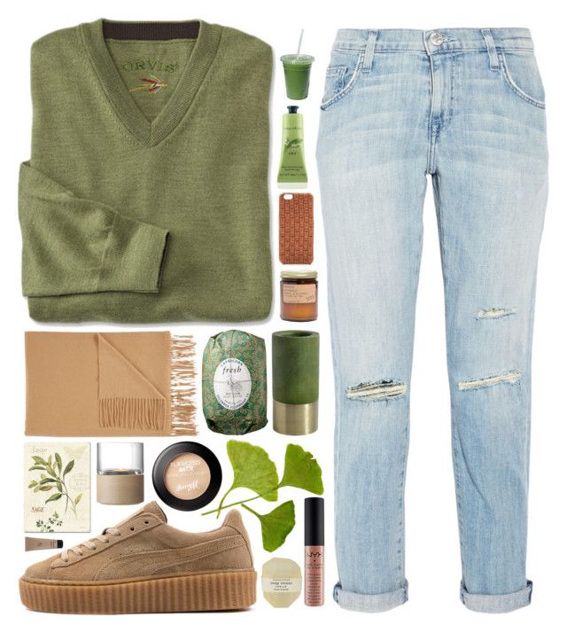 """""""Sage Secrets"""" by ladyvalkyrie ❤ liked on Polyvore featuring Current/Elliott, Puma, Sofiacashmere, Madewell, Valenz, Fresh, Trademark Fine Art, Nordal, Crabtree & Evelyn and NYX"""