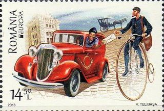 "europa stamps: Romania 2013 - Europa 2013 ""The postman van""  celebrating PostEuropa's 20th anniversary - 1993-2013"