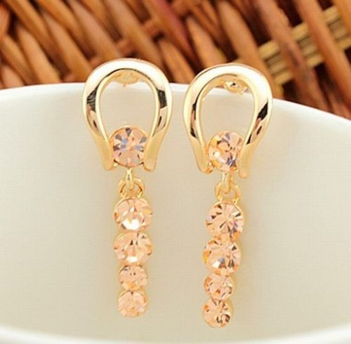 Luxury Temperament Crystal Rhinestone Geometry Gold Plated Girl Earrings 2 Color[Champagne]