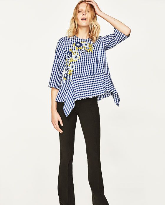 Image 3 of EMBROIDERED GINGHAM TOP from Zara
