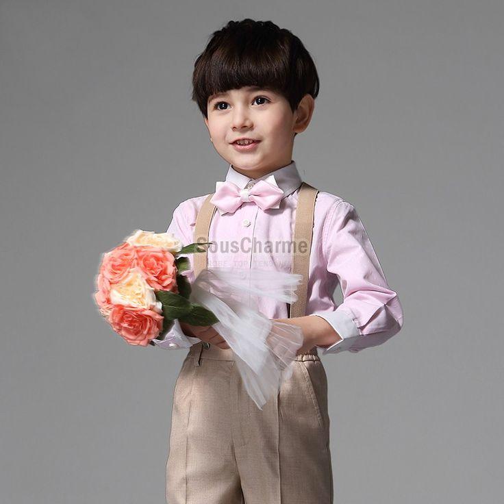 Ensemble cérémonie garçon d'honneur mariage Costume enfant pas cher couleur champagne avec 4 pièces