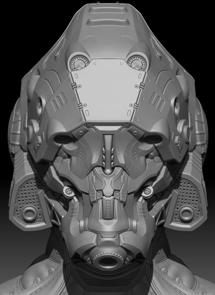 Mech helmet 100% ZBrush sculpt (plus game res real time renders!)