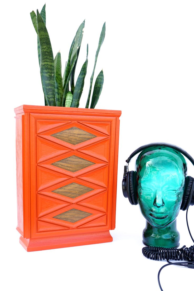 Mid-Century Modern Orange Faux Bois Diamond Pattern Waste Basket/Trash Can || Retro Style Repurposed Planter || Color Pop Home/Office Decor by ELECTRICmarigold on Etsy