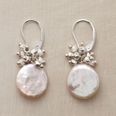 """STARSHOWER EARRINGS Item No. 53393$168.00 Luminous and fine, these silver and coin pearl earrings are simply sublime.  In these silver and coin pearl earrings, shiny sterling silver nuggets rain starlight down on cultured coin pearls. Handmade in USA with sterling silver lever backs. Exclusive. 1-1/4""""L."""