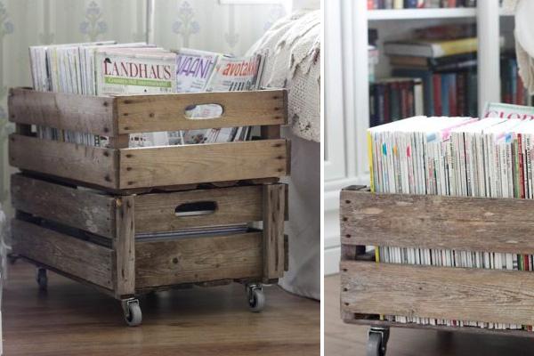 #Aardappelkistje met tijdschriften. DIY wooden fruit boxes for your magazines.