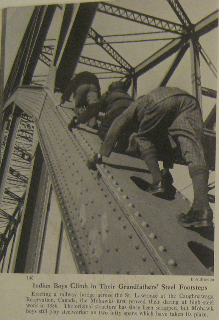 "A National Geographic article from 1952, ""The Mohawks Scrape the Sky,"" paints a detailed portrait of Little Caughnawaga's Mohawk steelworkers, and vaguely comments with the removed supremacy of mid-century ethnography that there is ""no sure explanation"" for the Mohawk's ""relative freedom from fear of heights."""