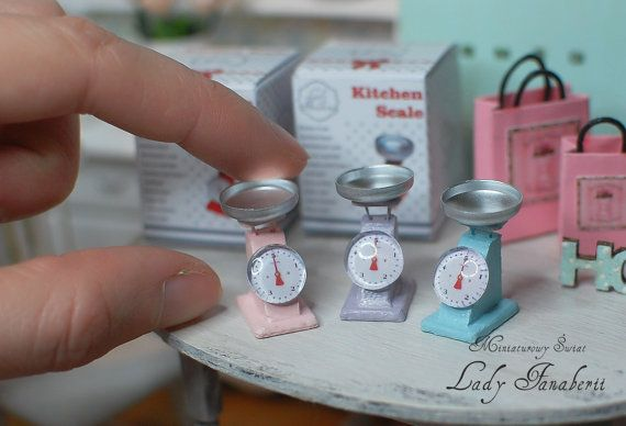Miniature Kitchen Scale with box and book NEW by MiniFanaberia