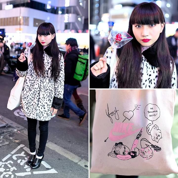 Asami Hida is a 19-year-old Japanese student and someone who we see around Harajuku often. Her look includes a Topshop dalmatian coat, Dr. Martens lace up heels, and a Foxy x Nike tote bag. Asami's favorite shop is Faline Tokyo. (Tokyo Fashion, 2014)
