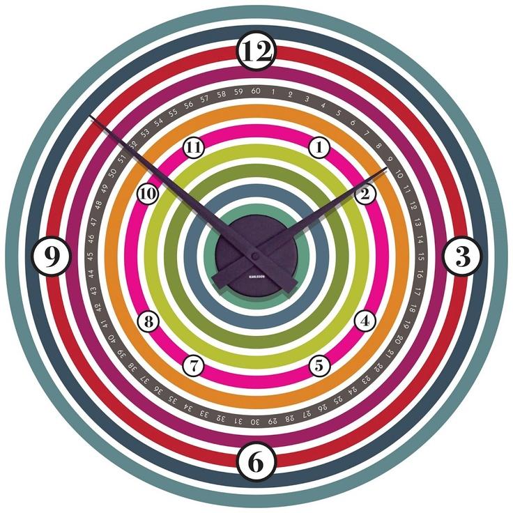 Colour Wheel Wall Clock - Funky Little Darlings. Beautiful retro style clock.