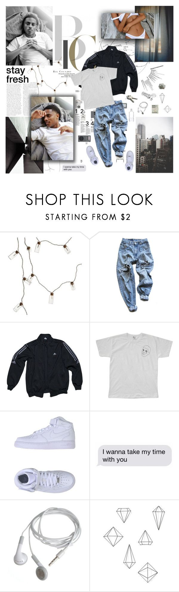 """FLIRT WITH YA GIRL LIKE YOU STILL TRYNA PULL HER."" by ilunqa ❤ liked on Polyvore featuring Klar, Levi's, adidas, We Are Still Bold and Beautiful, NIKE, Again, Umbra, Jack Spade, men's fashion and menswear"