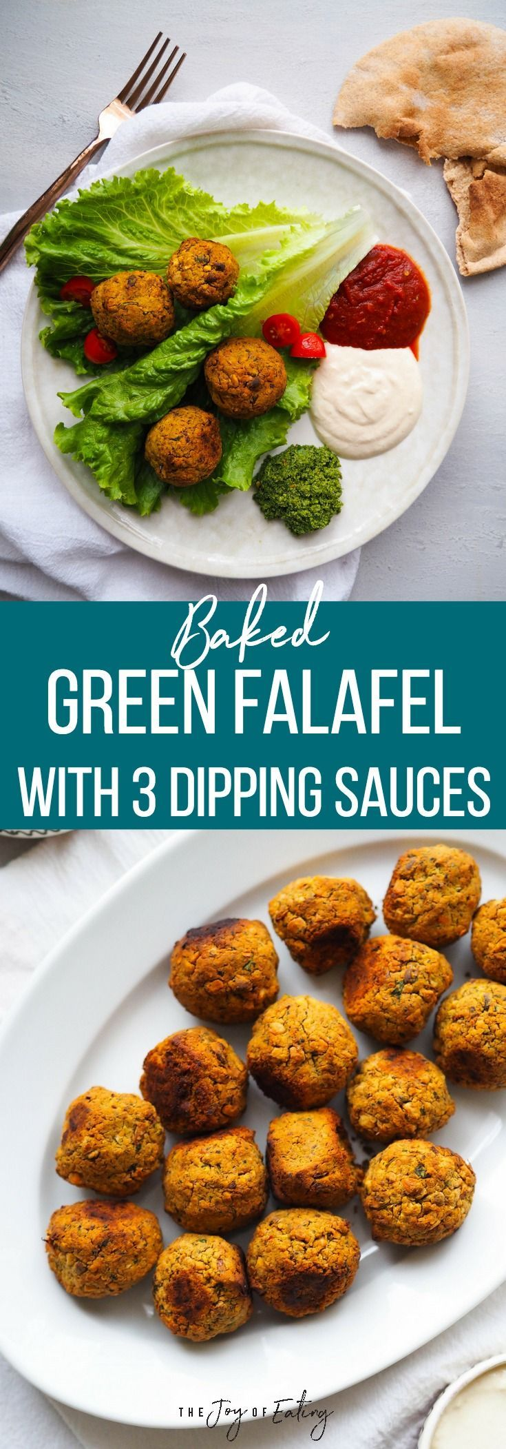 Make these easy baked green falafel, which come together in a food processor! They're studded with pistachios and tons of herbs! Serve with your choice of three dipping sauces - spicy harissa tomato sauce, tahini yogurt and green chutney! #vegan #vegetarian #healthyeating #falafel #chickpea