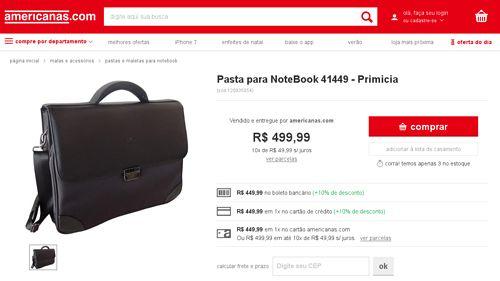 [Americanas.com] Pasta para NoteBook 41449 - Primicia por R$ 439,99