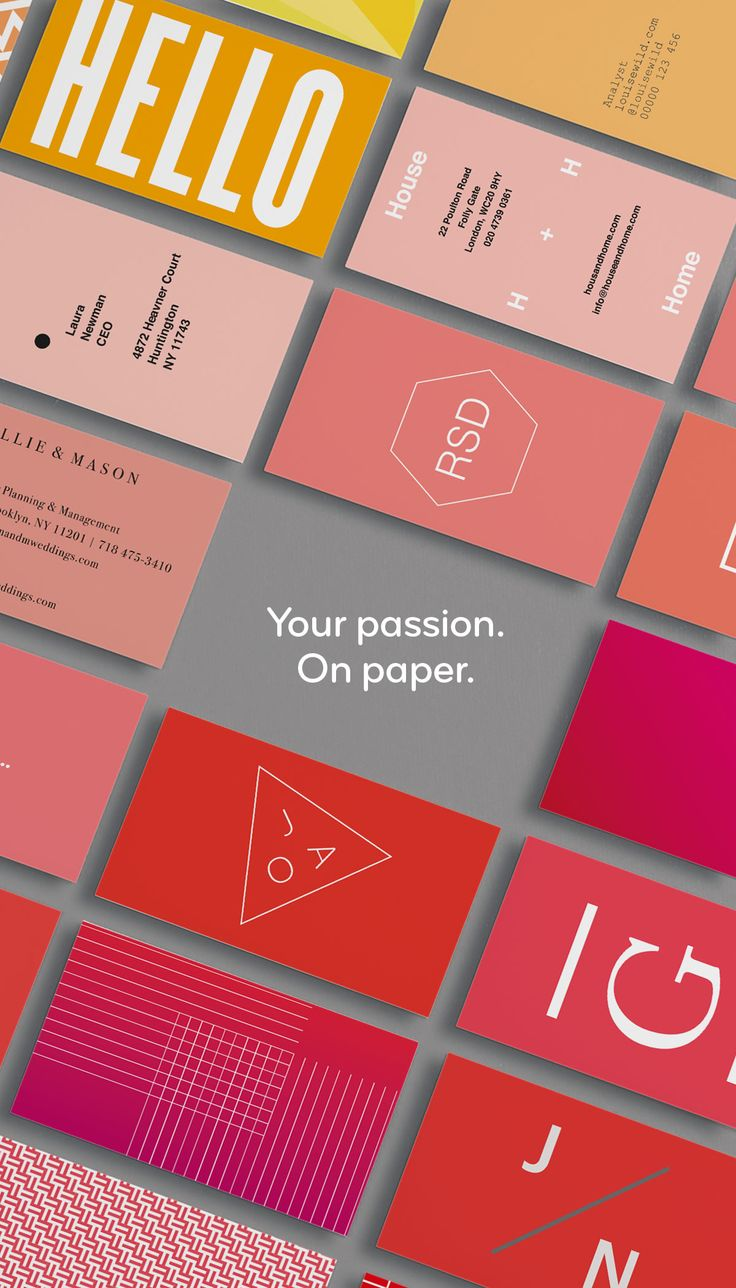 These are not your average business cards. Tell the story of you and your business with premium paper stocks, full-color, double-sided designs and unique options like gold foil, raised gloss and rounded corners. Get inspired; start with a template or upload your own photos and designs to create your cards in minutes.