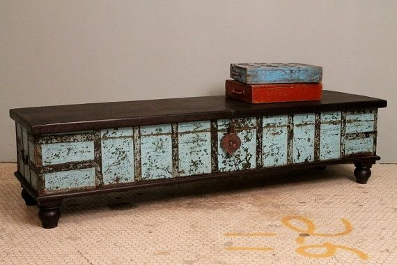Distressed turquoise blue antique indian wedding trunk narrow coffee table chest w lock brass Indian trunk coffee table