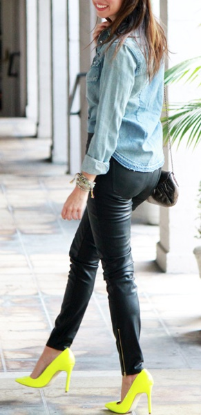 leather pants + neon heels