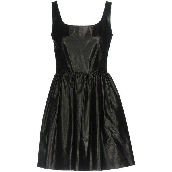Miu Miu Short Dress (17,025 MXN) ❤ liked on Polyvore featuring dresses, black, deep v-neck dress, zipper dress, mini dress, leather dress and flounce dress
