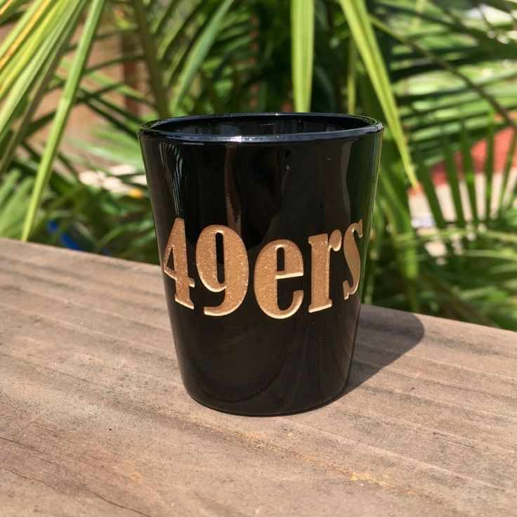 Black Shot Glass with 49ers Fan, Deep Etched, Metallic