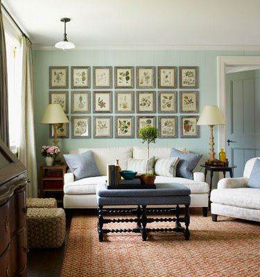 Botanicals in a grouping, love the ottoman