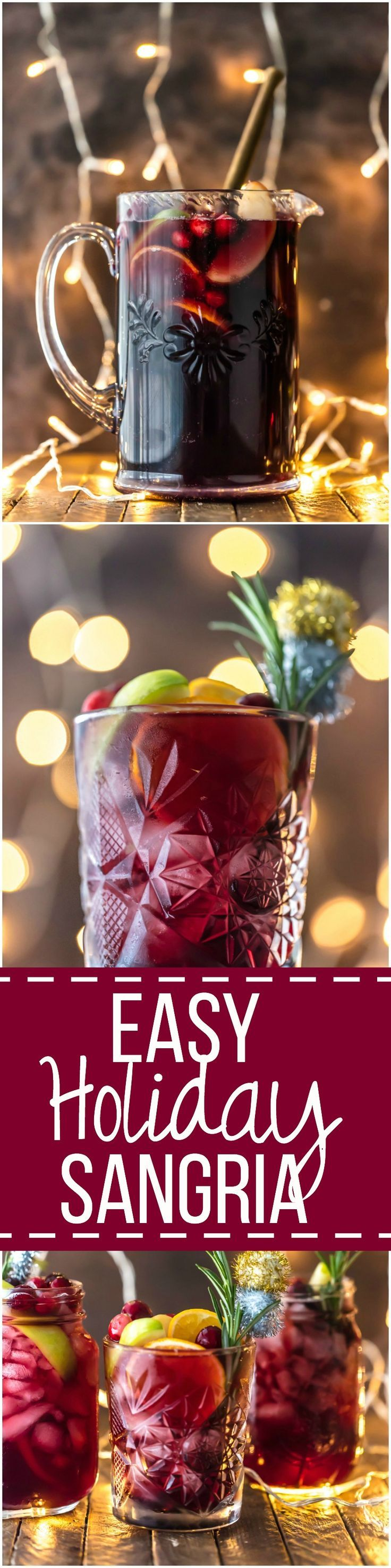 Easy Holiday Sangria - The perfect Christmas cocktail! Made with red wine, vodka, sparkling apple cider, and several juices; you'll be the star of any holiday party. | The Cookie Rookie