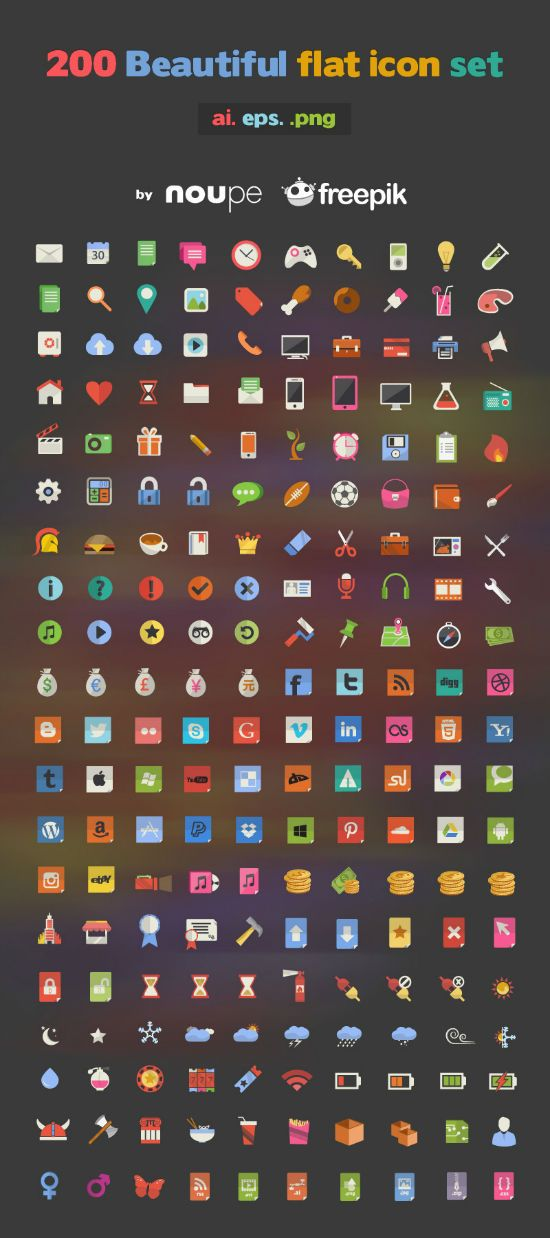 200 Beautiful Flat Icons - http://webdesign-freebies.tumblr.com/post/52268633201/200-beautiful-flat-icons
