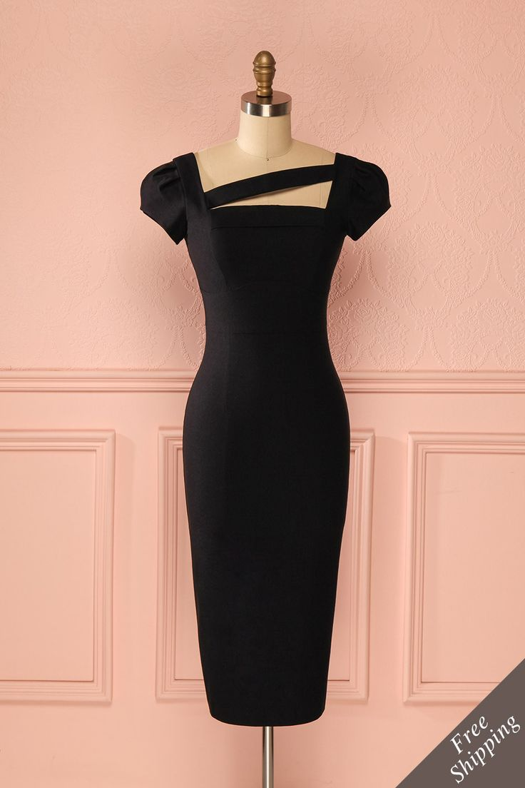 Robe noire ajustée mi-longue bande asymétrique manches courtes - Short sleeved asymmetric detail fitted midi black dress