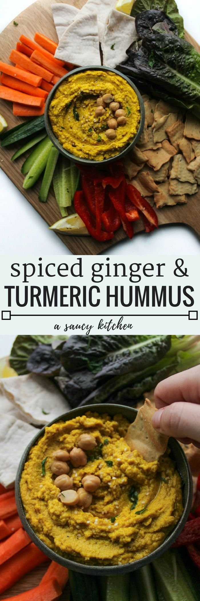 Ginger & Turmeric Hummus - a classic dip with a healthy twist | Gluten Free + Vegan