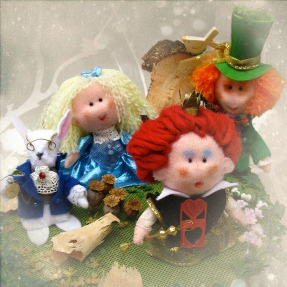 OOAK dolls Alice in Wonderland and friends - unique soft sculpture ornament for decoration or multicolored cake topper