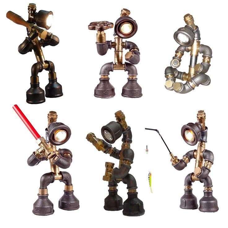 Easy2cook-Vintage- Retro Handmade- Steampunk Pipe Table Lamp- Robot Fishman - - Amazon.com