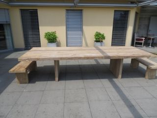 Massivholz Tisch Mit 7cm Dicker Teakplatte Aus Nachhaltigem Anbau In  Erstklassiger Qualität Mit Natürlicher Kante,