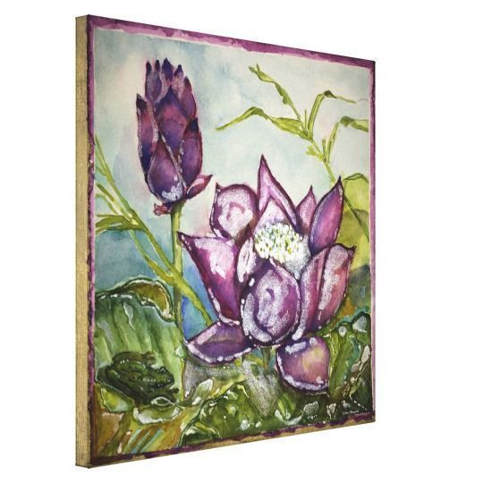 Purple home decor is absolutely adorable no matter if you like pale purple, lavender, lilac, magenta or violet purple home decor.  A purple themed home is easy to achieve by using purple wall art, purple throw pillows, purple throw blankets and purple area rugs.  Use this along with other purple wall art to create a relaxing, funky home decor theme #purple  Purple Lotus Frog Watercolor Print Wrapped Canvas