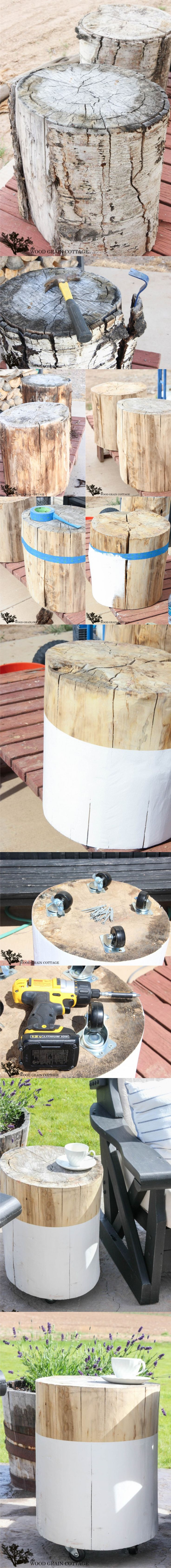 Mesita DIY con un tronco / Vía http://www.thewoodgraincottage.com/: